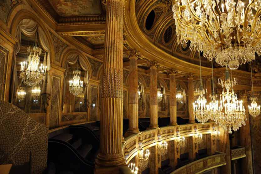 The Chateau de Versailles theater, lighted by Delisle chandeliers from the memory of craftmen and the inventory description from before the French Revolution